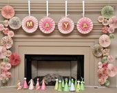 Hanging Ka-Lollie Paper Rosettes with Alphabet / Streamer/ Bunting for Wedding/ Baby and Bridal Shower/ Nursery/ Backdrop