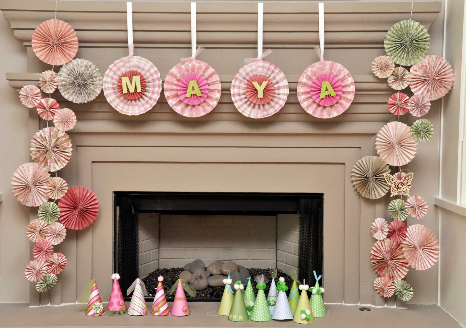 Hanging ka lollie paper rosettes with alphabet by for Decoration ka photo