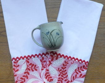 2 Pink Dish Towels, Tea Towels, Pink and Red Funky Kitchen