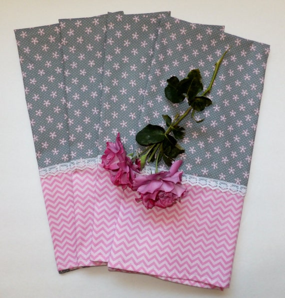 Grey Dish Rags: Pink Flowers And Chevrons On Gray Dish Towels Set Of 2