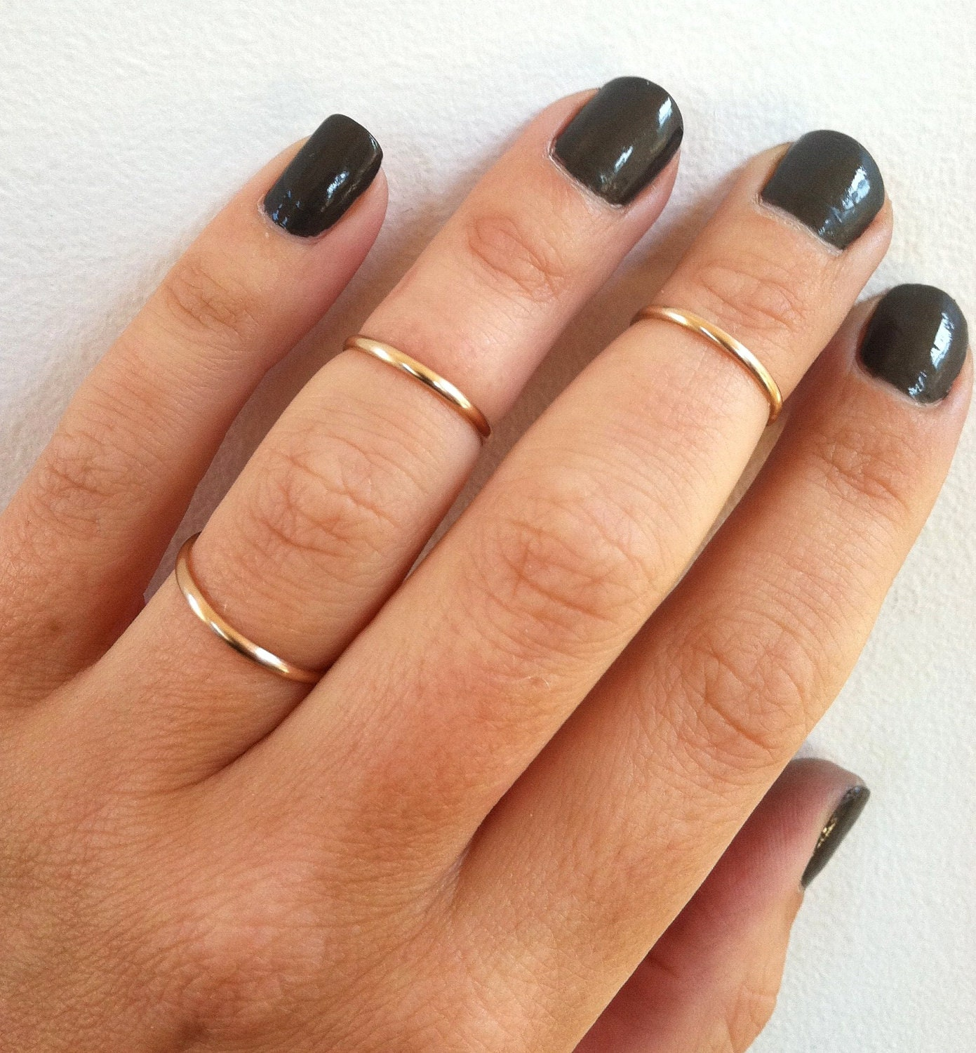 set of 3 mid knuckle rings 14k gold filled stacking rings. Black Bedroom Furniture Sets. Home Design Ideas