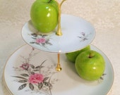 FIGHT LIKE A GIRL 2 Tier Cake Stand Tidbit Tray Golden Rose