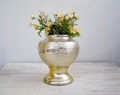 Metallic gold and silver Stoneware Vase, retro modern plant pot, shabby chic decor, 70s home style, table top, center piece, Garden decor - MeshuMaSH