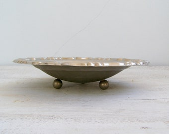 Mid century Silver bowl, Art Nouveau traditional fruit bowl, Vintage Tableware, mad men, shabby chic retro kitchenware, Candy bowl