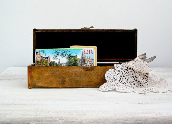 Vintage Rustic wood box, Wine bottle keeper, charm box, display box, Gift box, rustic decor, Wood planter