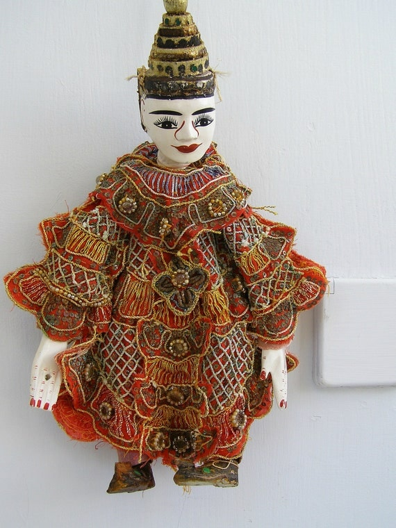 Salvage Chinese dancer marionette, Oriental Folk art man dancer figurine, Chinese Theater, colorful decorative costume decor, Eastern world