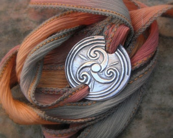 Celtic Spiral- Triskele- Silk Wrap Bracelet- Artisan Handcrafted with Recycled Silver and Hand Dyed Silk