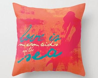 Throw Pillow Mermaids and The Sea. Home Decor