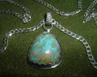 50% Discount. See Below   Arizona Turquoise and Sterling Silver Pendant, Item 330 - FREE USA SHIPPING