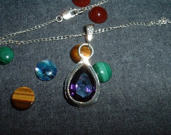 Discount Price! Amethyst Gemstone and Sterling Silver Pendant with a Quality Silver Chain, Item 502 - FREE USA SHIPPING