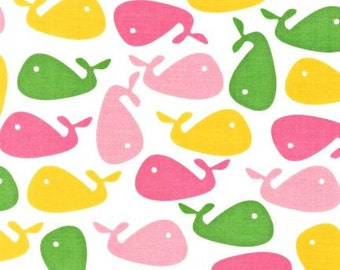 Pink & Green Whales on White From Robert Kaufman's Urban Zoologie Collection
