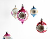 Vintage Glass Christmas Ornaments Silver Pink Blue Set 7