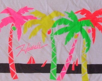 Vintage 80s Hawaii White with Neon Print T Shirt