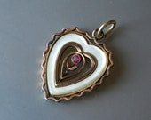 Antique Art Nouveau Charm Pendant Heart Mother Of Pearl Ruby Rolled Gold