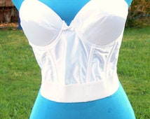 white  Boned strapless low back Corset 34A