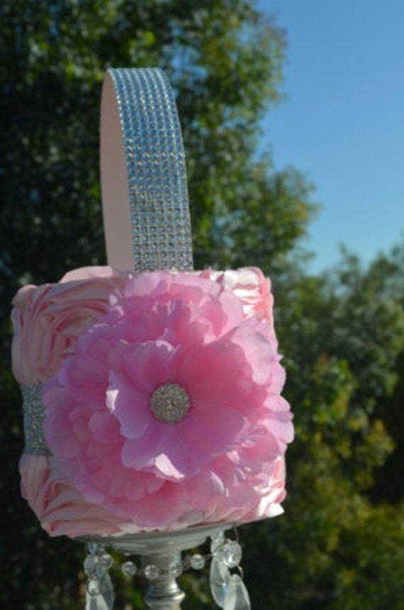 Pink Flower Girl basket-Pink Ruffle basket with Silver glitter ribbon  -Rhinestone handle and pink flower