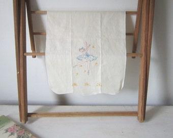 Vintage Linen Ballerina Linen Pink Blue Gold Embroidered ballerina Dresser Scarf Hand Made Linen Scarf Gift for Her Home Decor