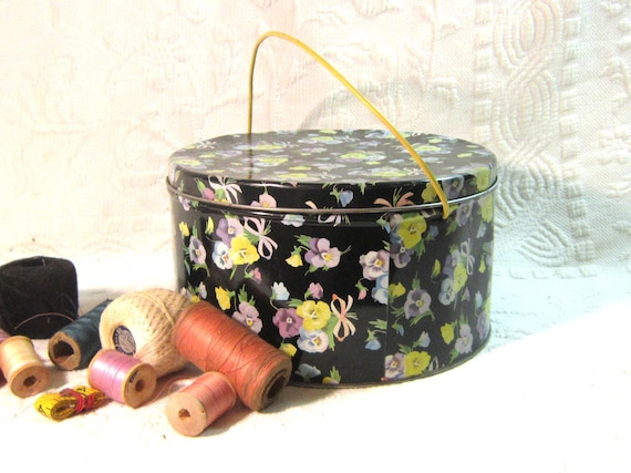 Vintage Tin Hat Box Sewing Craft Storage Home Decor Office Toy Storage Black Floral Tin Large Round Tin Cannister