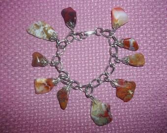 Fabulous Vintage Jasper Dangling Charm Bracelet