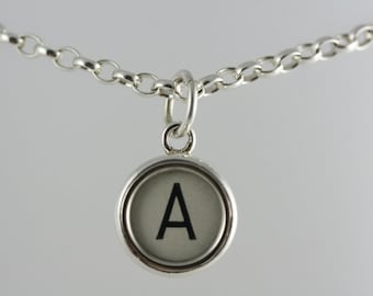 Typewriter key jewellery - letter A vintage typewriter key set in solid silver  -  silver belcher chain necklace. Men or women.