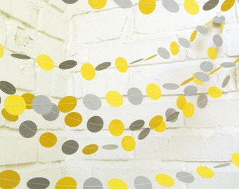 The Bella Garland, Paper Garland, Wedding Garland, Yellow and Gray, Mustard Yellow, Party Decoration