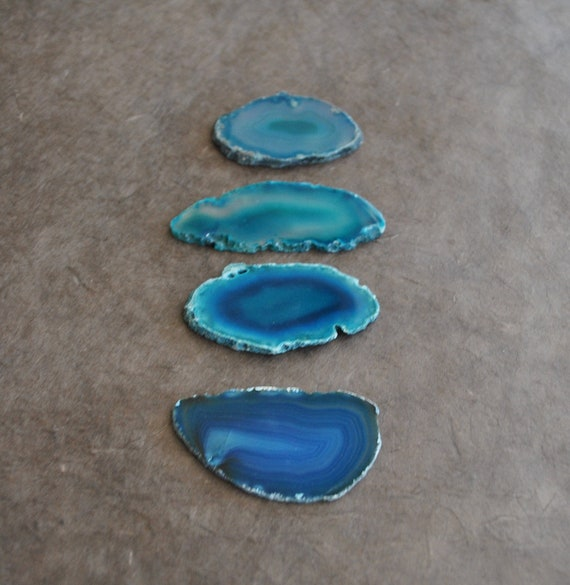 dyed green and blue agate slice from brazil good for wire wrapping (2 pc)