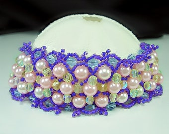 Victorian style, Lace Bead woven Cuff, Pink Pearls, Swarovski, Seed Beads, Pink, Purple, Lt Yellow, gift 4 her under 35, elegant classy