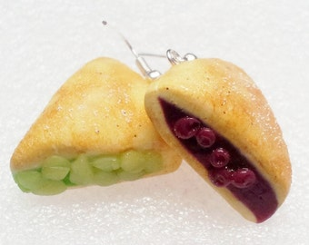 Apple and Cherry Pie Earrings. Polymer Clay.