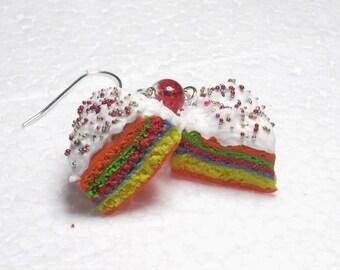 Slice Of Rainbow Cake Earrings. Polymer Clay.