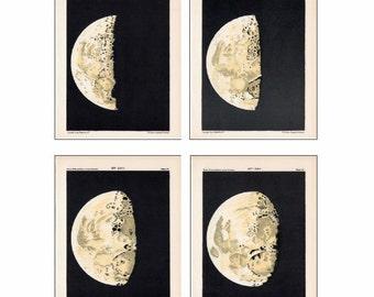 set of 4 moon phases celestial astronomy prints - days 7 thru 10
