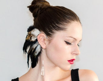 Feather Ear Cuff - Quartz Crow