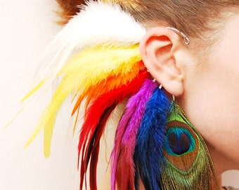 Feather ear cuff - Colorful Dreams