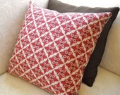"Large Red and Beige Ikat Print 20"" Pillow Cover"