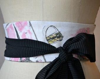 French paris obi belt sash reversible waist cincher pink black tweed cotton