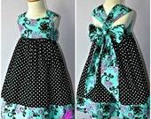 Ella Dress For Girls 12M-8Y PDF Pattern & Instructions - full skirt, elastic back, easy sew, contrasting hem, big bow, sweetheart bodice
