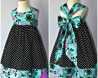 Ella Dress For Girls 12M-8Y PDF Pattern & Instructions - full skirt, elastic back, easy sew, contrasting hem, big bow, sweetheart bodice