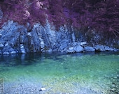 Purple dream on the river - Signed photo 8 X 12 - BOGO sale - water reflection fantasy rocks blue green cyan lilac violet romantic love
