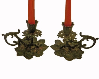 Pair GRAPE CLUSTER CANDLESTICKS by Virginia Metalcrafters - Cast Iron - Signed - Free Shipping