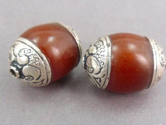 2 Tibetan Beads with Tibetan Silver Brown Copal S24B2-06