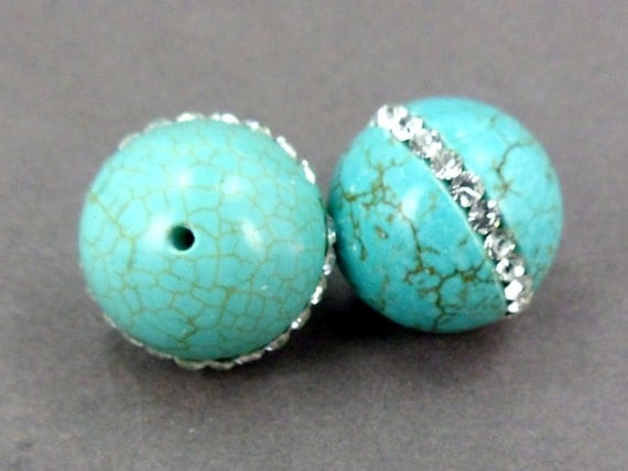 Turquoise bead with crystal rhinestone center large bead UNIQUE