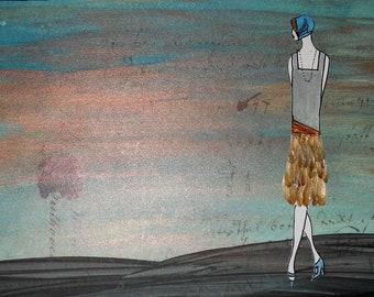 "Art Deco Acrylic and Flower Petal Painting ""Celadon"""