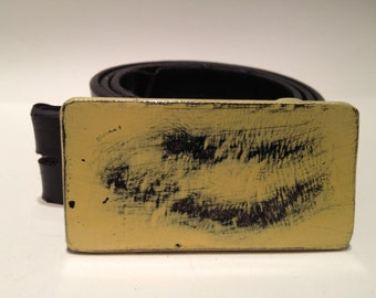Steel Belt Buckle Yellow and Black Distressed.