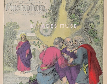 Evil Men-Wicked Husband-Fight-Argue-Sinners-Sin-Jesus Christ-Bible-Spiritual-1800's Antique Vintage COLOR ART PRINT-Picture-Gothic Ephemera