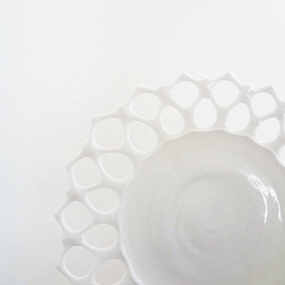 Milk Glass Sandwich Plate, Westmoreland Doric Lace
