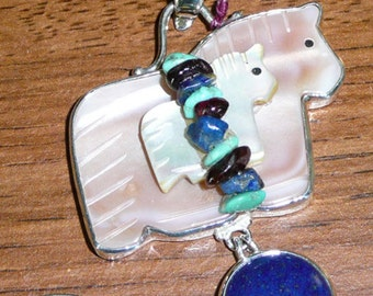 Two Horse Lapis, Mother of Pearl, Turquoise, Garnet,Sugilite, Sterling Silver Pendant