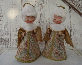 Two cone Angels with plastic face and gold dress and halo Christmas tree topper