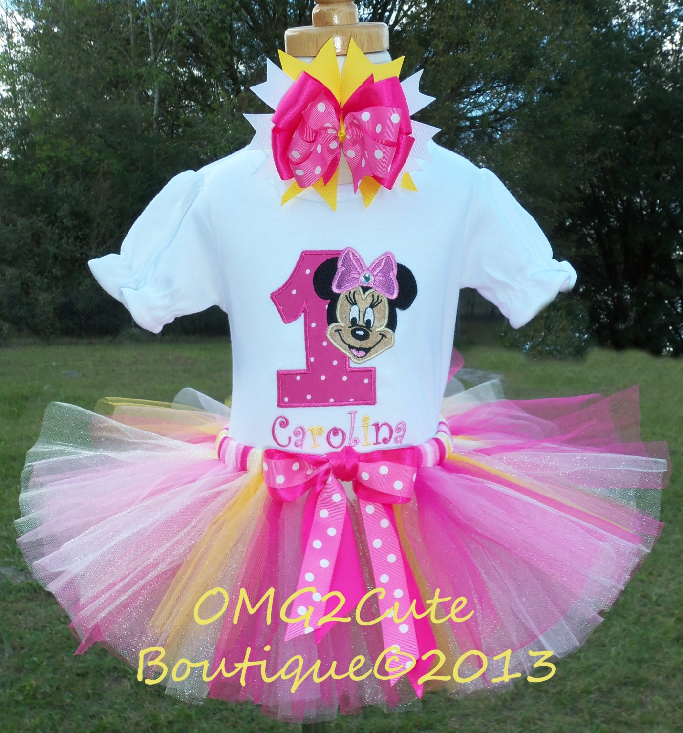 Birthday Party Outfit: Minnie Mouse Birthday Outfit Yellow And Pink Includes Shirt