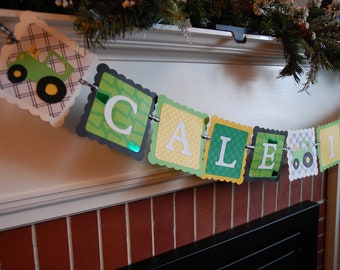 Green Tractor Name and Age Banner, Tractor Birthday, Farm Party, Barnyard Bash, Birthday Banner