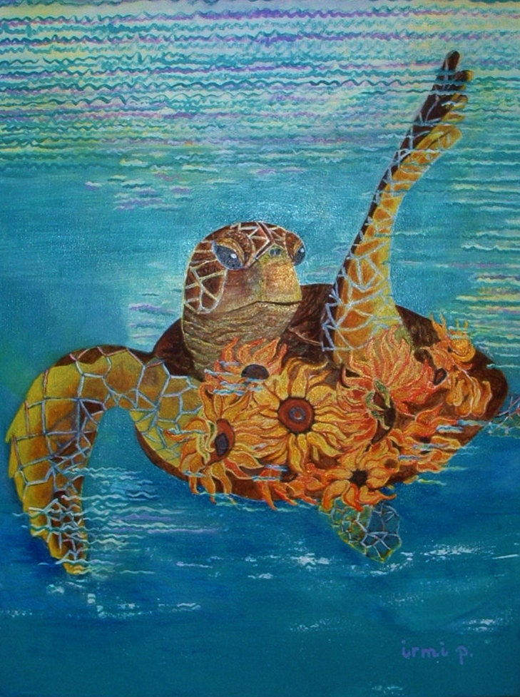 Sea turtle acrylic painting for Turtle fish paint
