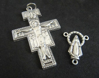 Italian Silver San Damiano Rosary Crucifix and Matching Miraculous Mary Reversible Center
